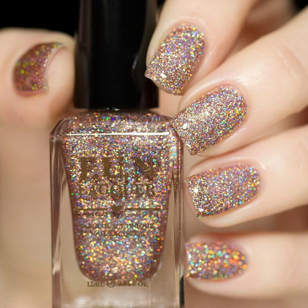 Nail Polish Colors Bronze: 100 Cute And Easy Glitter Nail Designs Ideas To Rock This