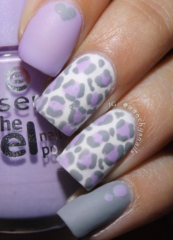 60 stylish leopard and cheetah nail designs that you will love lavender themed leopard nail art design prinsesfo Images