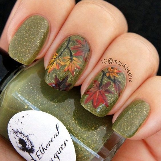 Thatleanne Firey Autumn Leaves Nail Art: 40 Gorgeous Fall Nail Art Ideas To Try This Fall