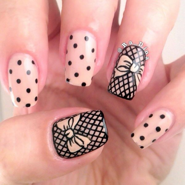 30 cute cool and simple bow nail art designs for girls bows and polka dot nail art prinsesfo Images