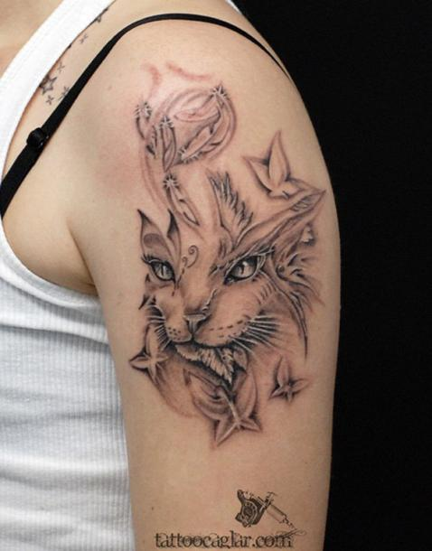 45 cute and lovely cat tattoos ideas for cat lovers ecstasycoffee. Black Bedroom Furniture Sets. Home Design Ideas