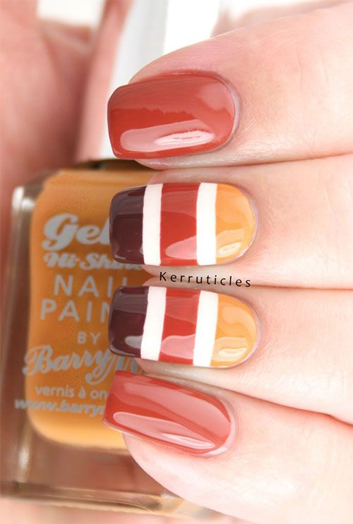 40 gorgeous fall nail art ideas to try this fall easy cute thanksgiving nail art designs prinsesfo Image collections