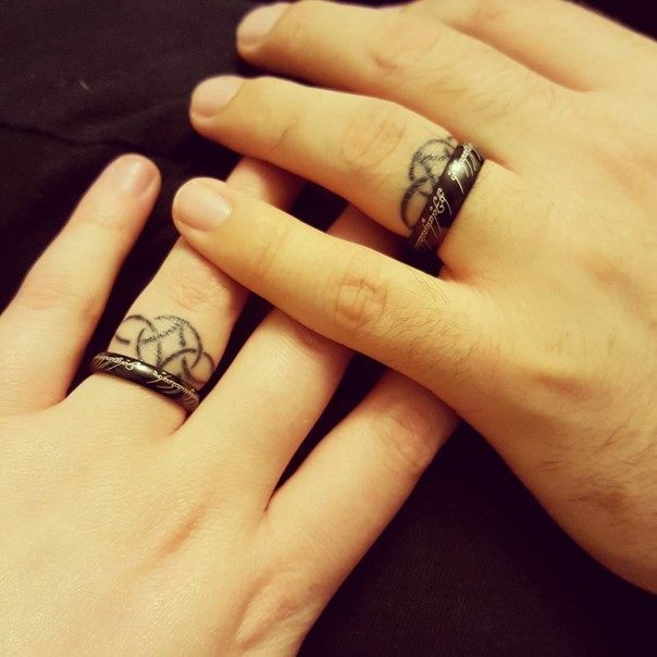 White Wedding Ring Tattoos: 50 Cool Wedding Ring Tattoos To Express Their Undying Love