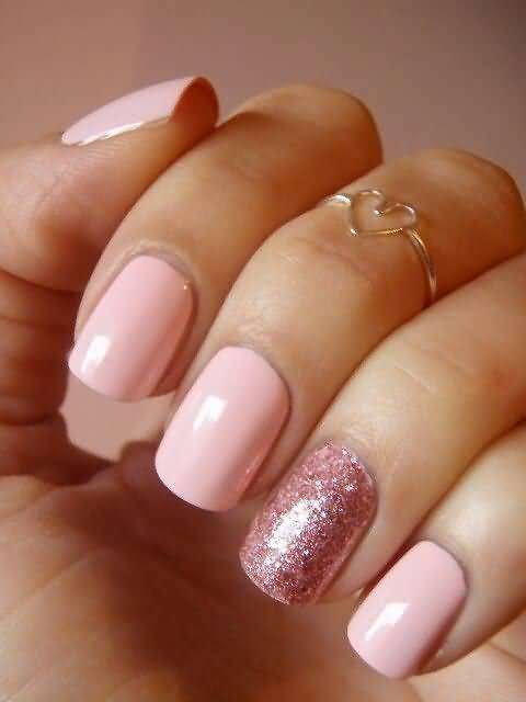 65 incredible glitter accent nail art ideas you need to try baby pink nails with rose glitter accent nail prinsesfo Image collections