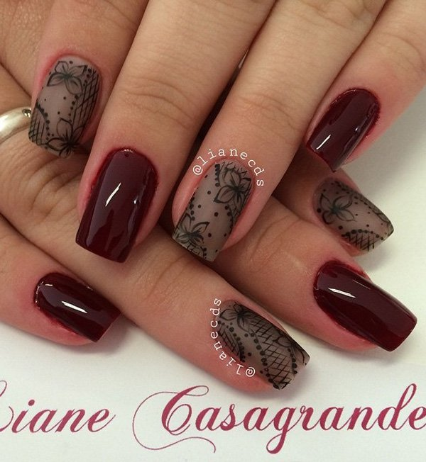 40 best fallwinter nail art designs to try this year ecstasycoffee bloody red and brown winter nail art prinsesfo Images