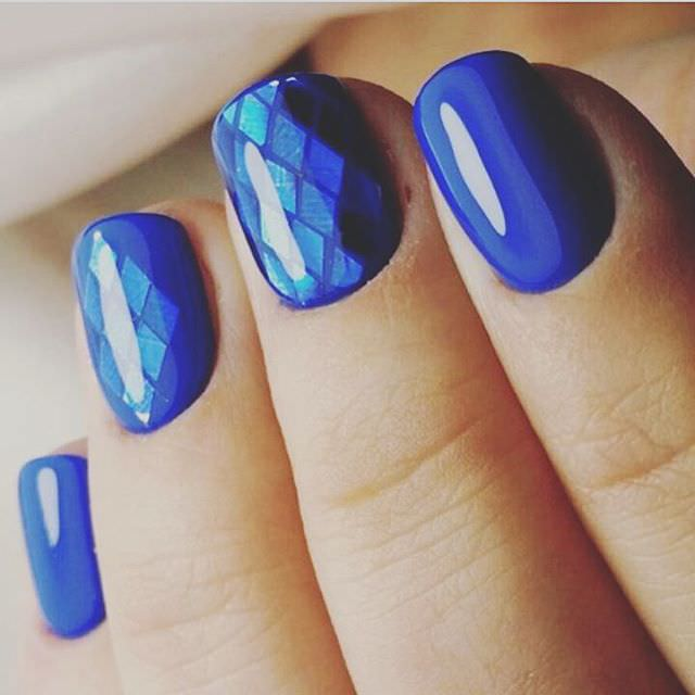 amazing shellac manicure ideas blue color holographic shellac design - Shellac Nail Design Ideas