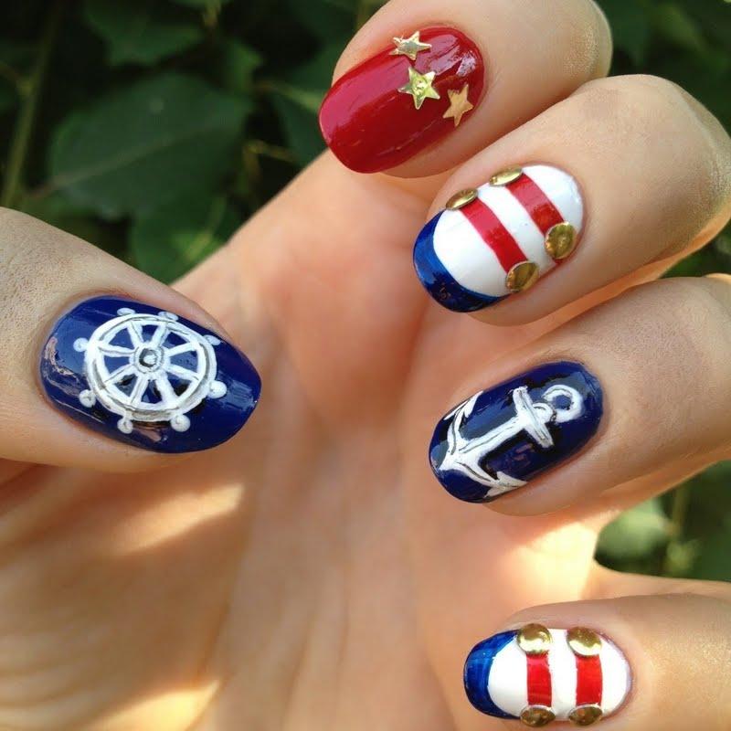 blue-nails-with-white-polka-dots-and . - Nautical Nail Art Ideas - NailArts Ideas