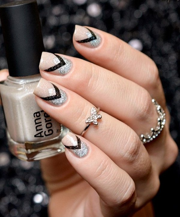 40 best fallwinter nail art designs to try this year ecstasycoffee nude black and silver winter nail art design prinsesfo Gallery