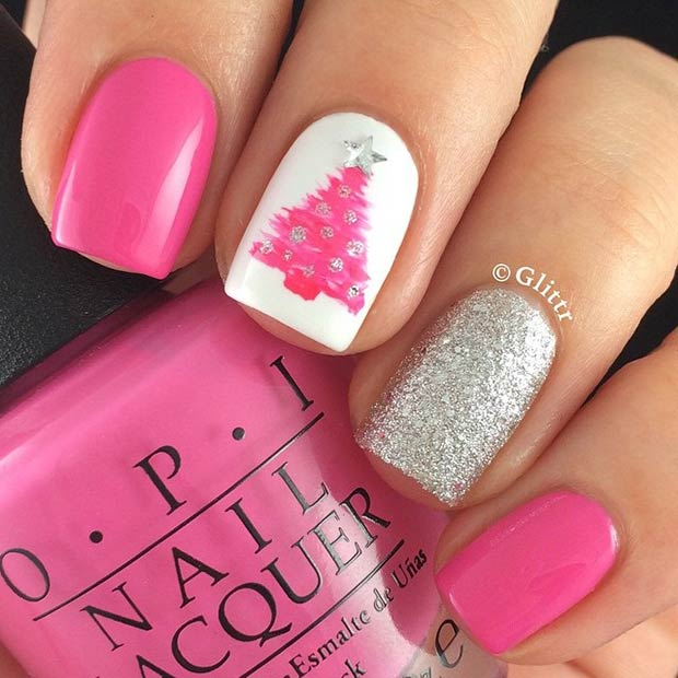 60 awesome christmas nail art designs pink christmas nails prinsesfo Gallery