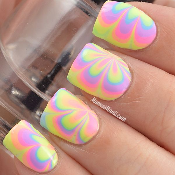 40 awesome water marble nail art designs youll want to try this pastel colored water marble nail art design prinsesfo Image collections