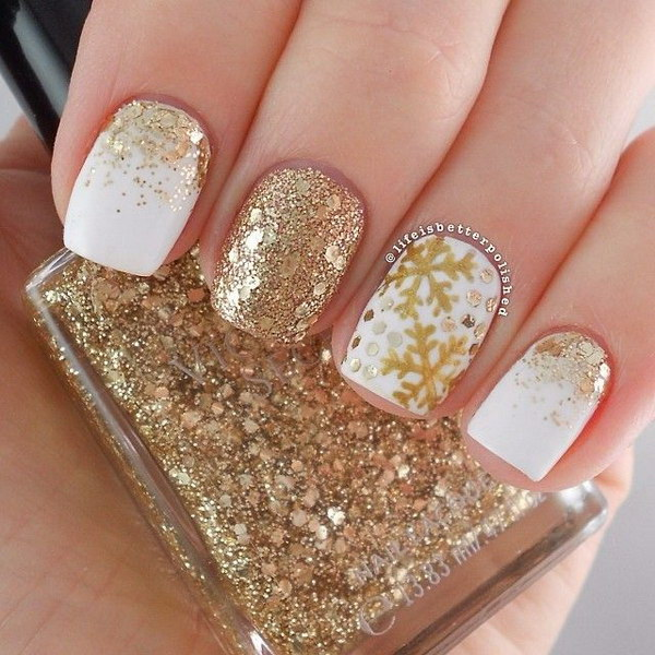 30 Amazing Rhinestone Nail Art Designs Ecstasycoffee: 40 Best Examples Of Gold Glitter Nail Polish Art Just For