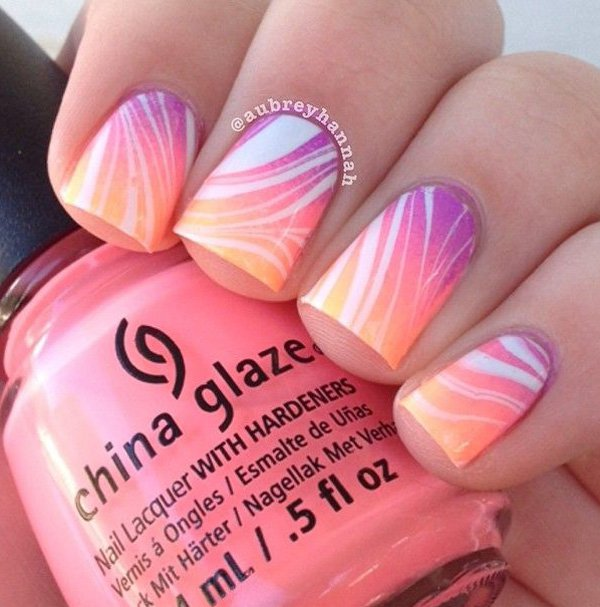 40 awesome water marble nail art designs youll want to try this gradient nail art prinsesfo Image collections