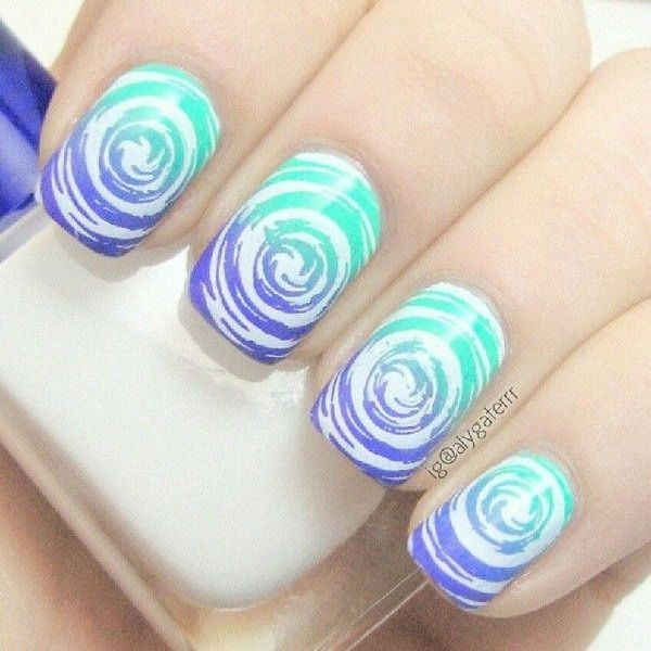40 awesome water marble nail art designs youll want to try this water marble nail art design prinsesfo Image collections