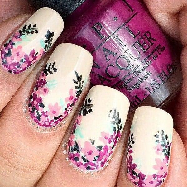44 lovely flower nail art design ecstasycoffee beige background flower nails prinsesfo Images