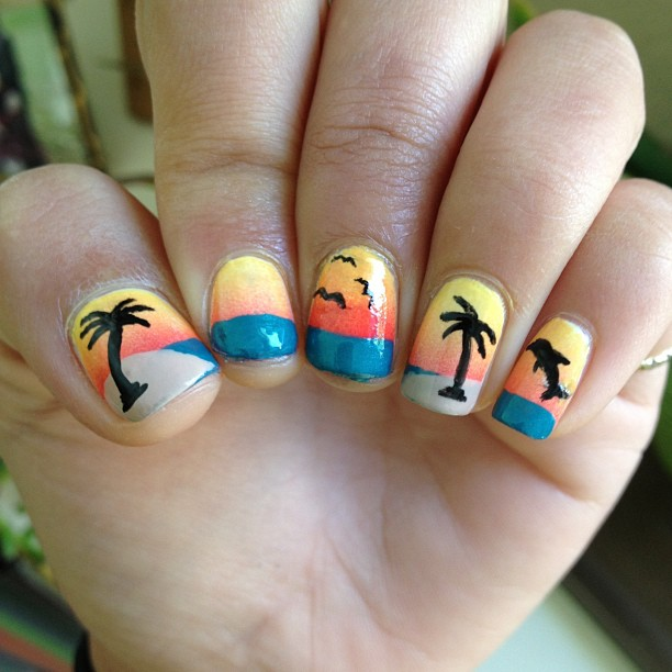 - 44 Palm Tree Nail Art Ideas That You Will Love - EcstasyCoffee