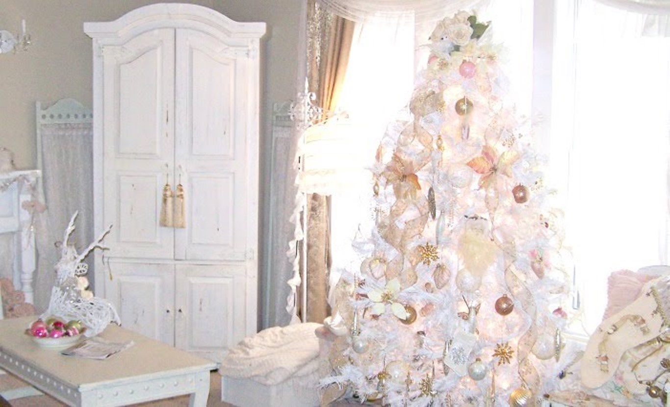 30 creative white christmas tree decorating ideas - Decorazioni natalizie stile shabby chic ...