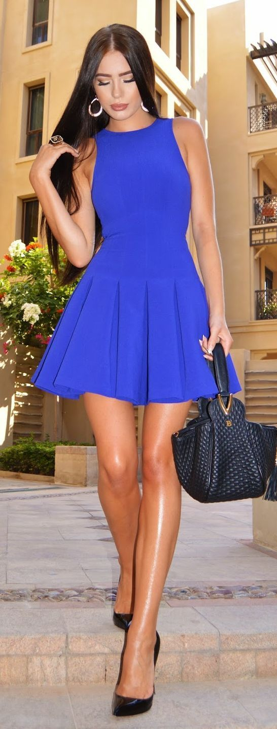 blue dress outfit