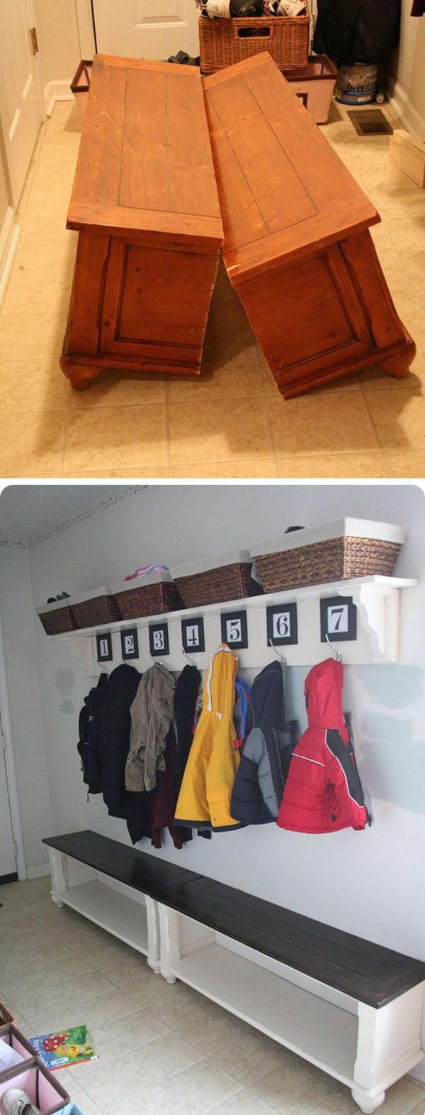 diy repurposed furniture. Turn An Old Coffee Table To A Mudroom Bench Diy Repurposed Furniture
